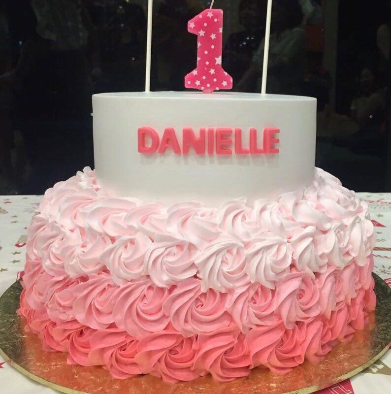 2-tier Ombre Pink Rosette