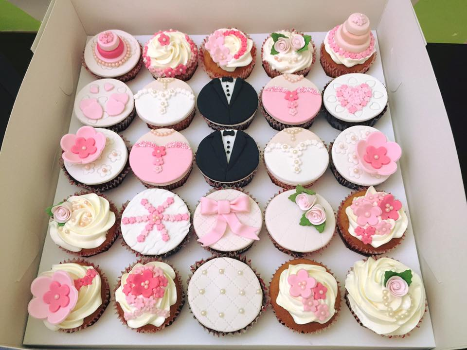 Pink and Flora Wedding Cupcakes