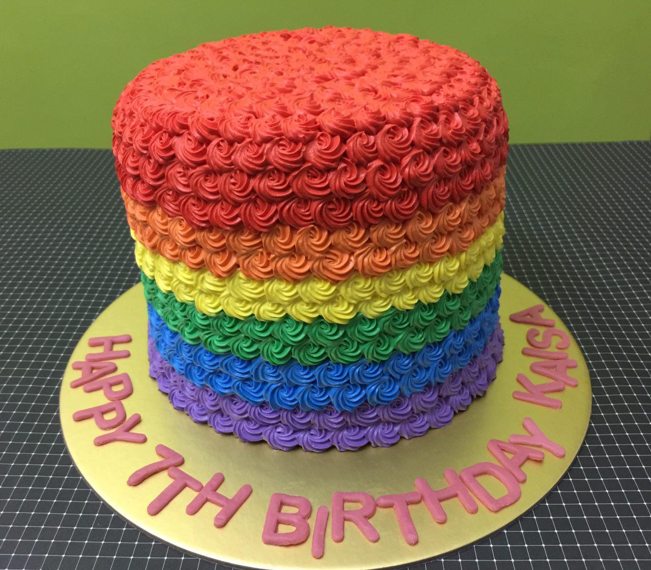 Rainnbow Rosette Cake