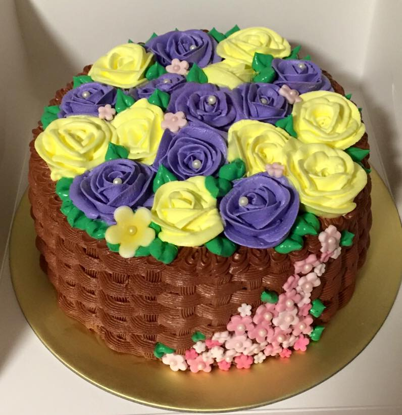 Rose Basket - Purple & Yellow