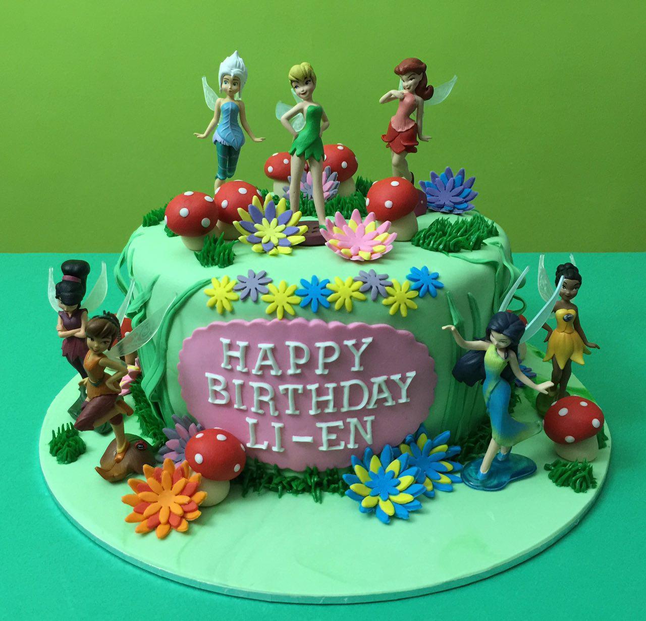 Tinkerbell Garden Fondant Cake